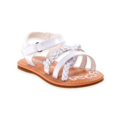 Laura Ashley® Size 1 Floral Braided Strap Sandals in White