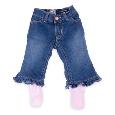 Otium Brands Size 0-6M Denim Pants with Pink Footies