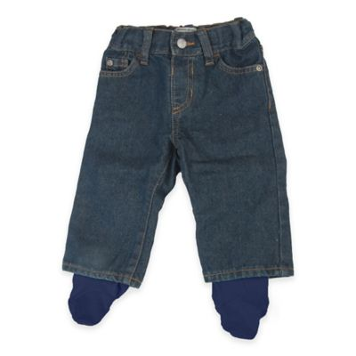 Otium Brands Size 0-6M Denim Pants with Blue Footies