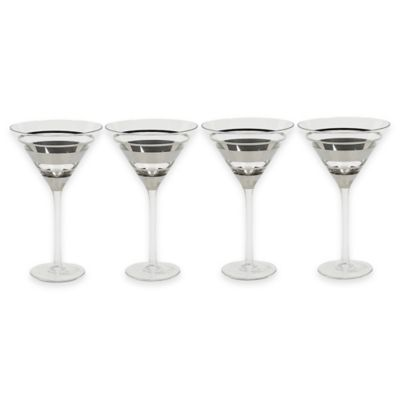 VANDERPUMP Beverly Hills Chelsea Martini Glasses in Silver (Set of 4)