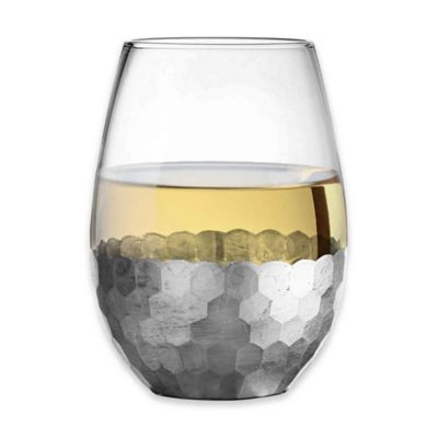 Fitz and Floyd® Daphne Stemless Wine Glasses in Silver (Set of 4)