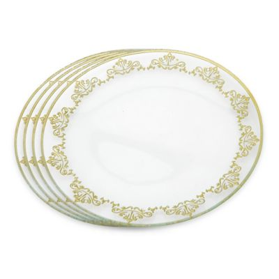 Classic Touch Glittered Charger Plates in Gold (Set of 4)
