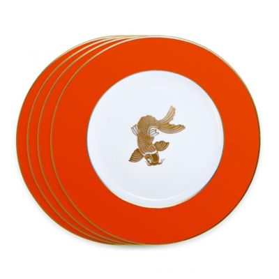 Tinsley Mortimer Koi Dinner Plates in Orange (Set of 4)