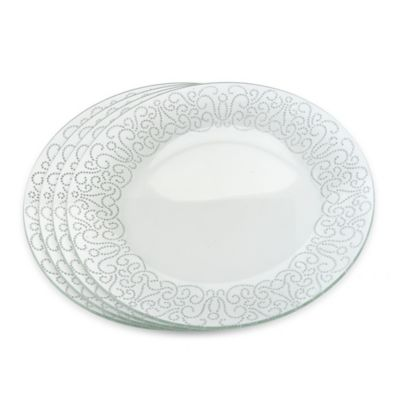 Classic Touch Glittered Accent Plates in Silver (Set of 4)