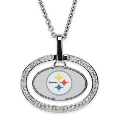 NFL Pittsburgh Steelers Sterling Silver 18-Inch Chain Oval Pendant Necklace