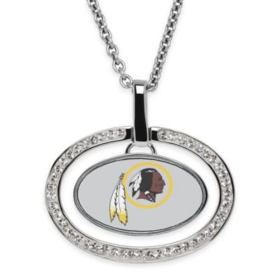 NFL Washington Redskins Sterling Silver 18-Inch Chain Oval Pendant Necklace