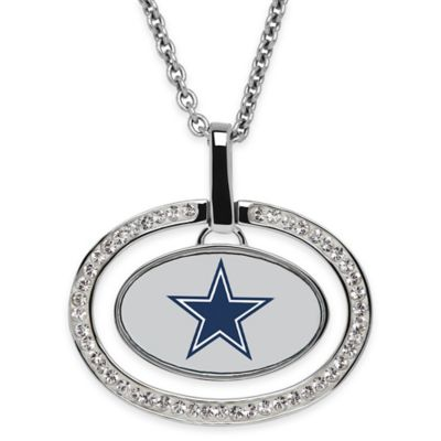 NFL Dallas Cowboys Sterling Silver 18-Inch Chain Oval Pendant Necklace