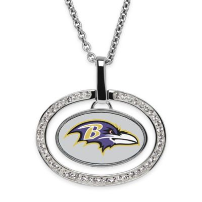 NFL Baltimore Ravens Sterling Silver 18-Inch Chain Oval Pendant Necklace