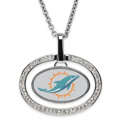 NFL Miami Dolphins Sterling Silver 18-Inch Chain Oval Pendant Necklace