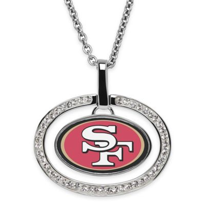 NFL San Francisco 49ers Sterling Silver 18-Inch Chain Oval Pendant Necklace