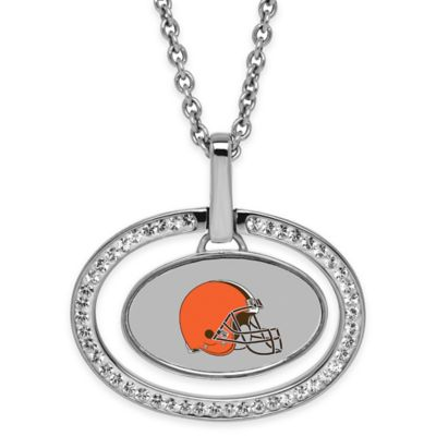 NFL Cleveland Browns Sterling Silver 18-Inch Chain Oval Pendant Necklace