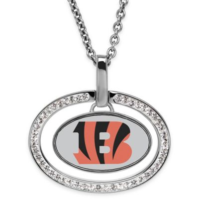 NFL Cincinnati Bengals Sterling Silver 18-Inch Chain Oval Pendant Necklace