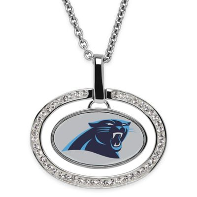 NFL Carolina Panthers Sterling Silver 18-Inch Chain Oval Pendant Necklace