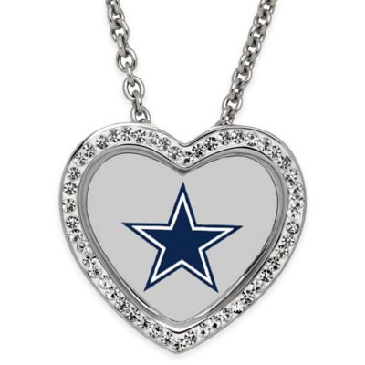 NFL Dallas Cowboys Sterling Silver 18-Inch Chain Crystal Heart Pendant Necklace
