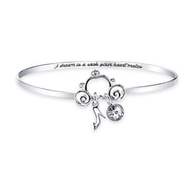 Disney® Silver-Plated Cinderella Wish Crystal Pendant 8-Inch Bangle Bracelet