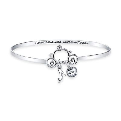 "Disney® Silver-Plated ""Frozen"" Crystal Pendant 8-Inch Bangle Bracelet"