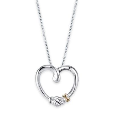 Disney® 10K Yellow Gold and Sterling Silver Gold Mickey and Minnie Heart Pendant Necklace