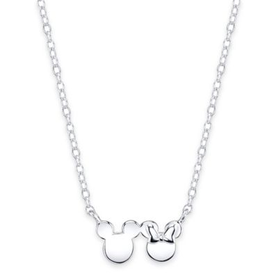 Disney® Sterling Silver Mickey and Minnie 16-Inch Chain Pendant Necklace