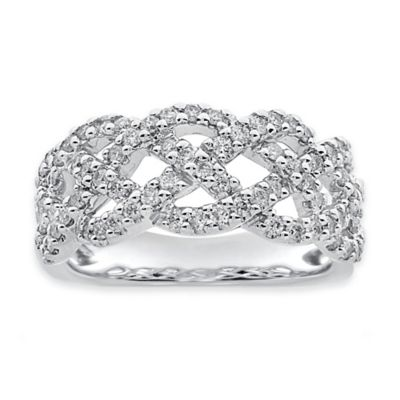 10K White Gold .75 cttw Diamond Size 7 Ladies' Twisted Ring