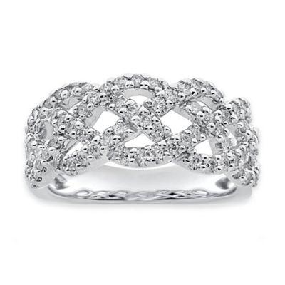 10K White Gold .75 cttw Diamond Size 6 Ladies' Twisted Ring