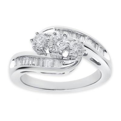 10K White Gold .50 cttw Diamond Size 5 Ladies' Bypass Ring