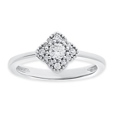 14K White Gold .33 cttw Diamond Cluster Size 5 Ladies' Flower Ring