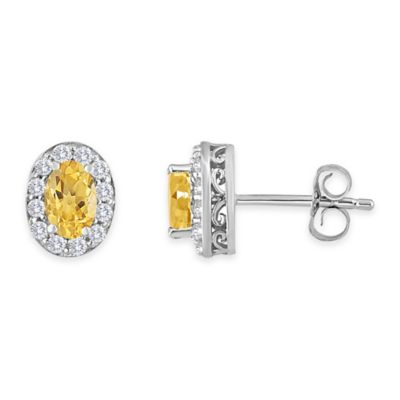 Sterling Silver Oval Citrine and Created White Sapphire November Birthstone Halo Post Earrings