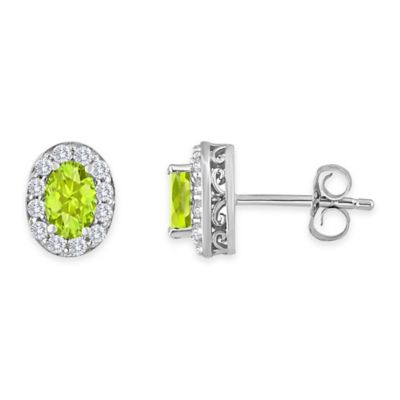 Sterling Silver Oval Peridot and Created White Sapphire August Birthstone Halo Post Earrings