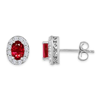 Sterling Silver Oval Created Ruby and Created White Sapphire July Birthstone Halo Post Earrings
