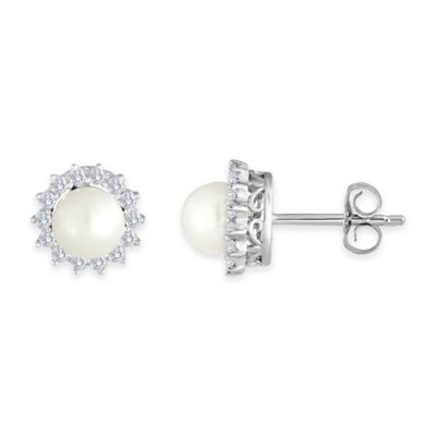 Sterling Silver Freshwater Cultured Pearl and Created Sapphire June Birthstone Halo Post Earrings