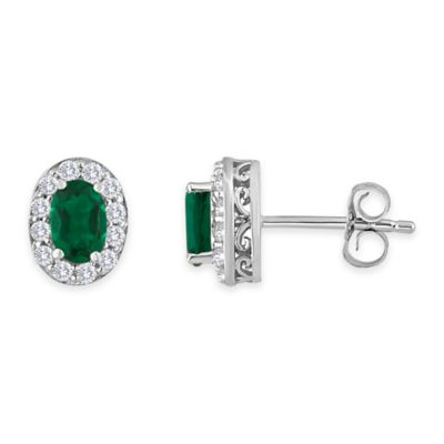 Sterling Silver Oval Created Emerald and Created White Sapphire May Birthstone Halo Post Earrings
