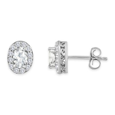 Sterling Silver Oval and Round Created White Sapphire April Birthstone Halo Post Earrings