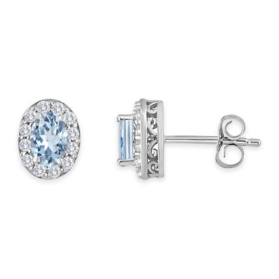 Sterling Silver Oval Aquamarine and Created White Sapphire March Birthstone Halo Post Earrings
