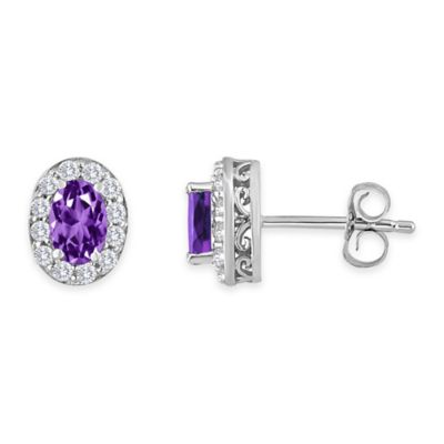 Sterling Silver Oval Amethyst and Created White Sapphire February Birthstone Halo Post Earrings