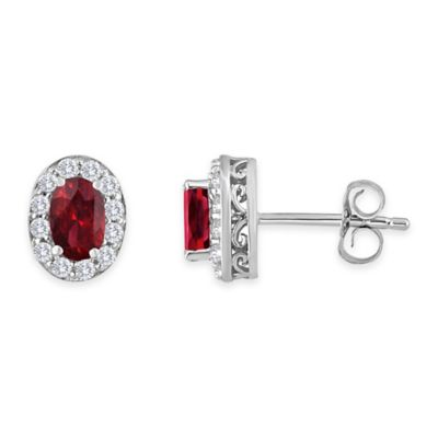 Sterling Silver Oval Garnet and Created White Sapphire January Birthstone Halo Post Earrings