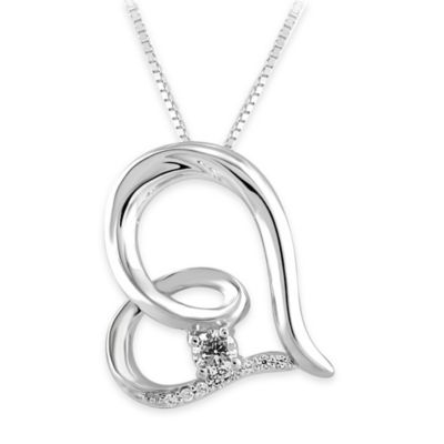 14K White Gold .15 cttw Diamond Solitaire 18-Inch Chain Curved Heart Pendant Necklace