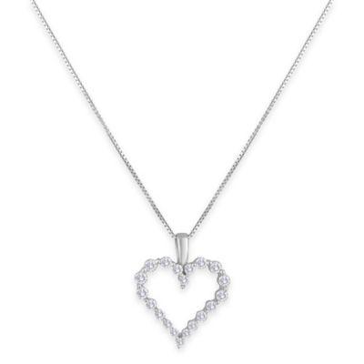 14K White Gold .25 cttw Diamond Prong-Set 18-Inch Chain Open Heart Pendant Necklace