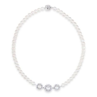CRISLU Platinum-Plated Sterling Silver Freshwater Cultured Pearl Cubic Zirconia Starburst Necklace