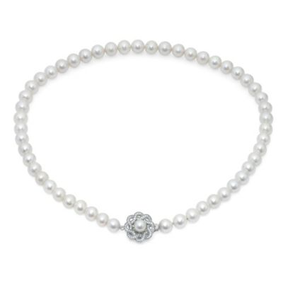 Crislu Sterling Silver Freshwater Cultured Pearl and Cubic Zirconia Floral Cluster Strand Necklace