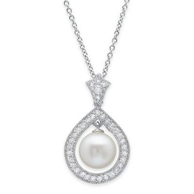 CRISLU Platinum and Sterling Silver Freshwater Cultured Pearl Halo Drop Pendant Necklace