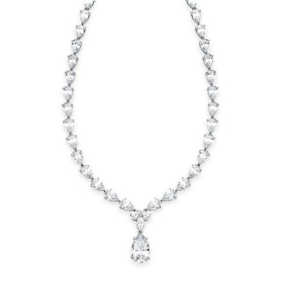 CRISLU Platinum-Plated Sterling Silver Cubic Zirconia Pear Drop 16-Inch Chain Necklace