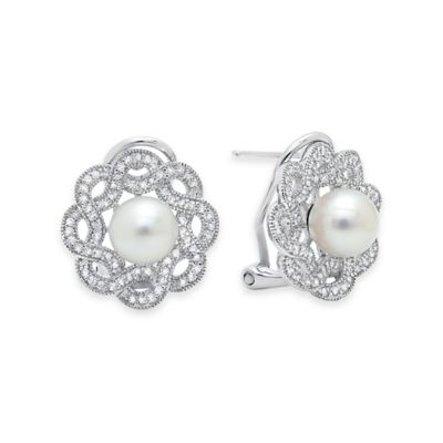 Sterling Silver .64 cttw Cubic Zirconia and 6mm Freshwater Cultured Pearl Floral Post Earrings