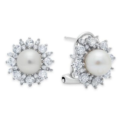 White Silver Post Earrings
