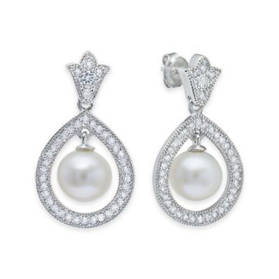 Sterling Silver .45 cttw Cubic Zirconia and 6mm Freshwater Cultured Pearl Teardrop Post Earrings