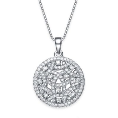 Genevieve Sterling Silver Cubic Zirconia 18-Inch Chain Intricate Round Pendant Necklace