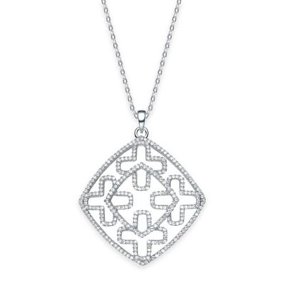 Genevieve Sterling Silver Cubic Zirconia 18-Inch Chain Diamond Crosses Pendant Necklace