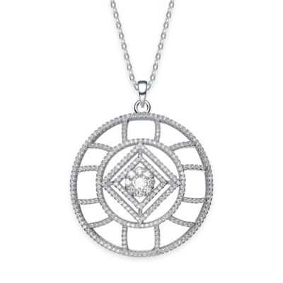 Genevieve Sterling Silver Cubic Zirconia 18-Inch Chain Angelic Round Pendant Necklace