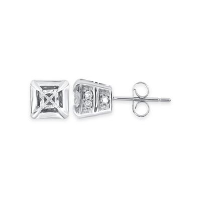 10K White Gold .25 cttw Round and Princess-Cut Diamond Stud Earrings