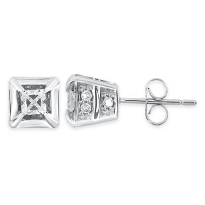 10K White Gold .50 cttw Round and Princess-Cut Diamond Stud Earrings