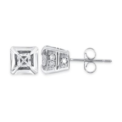 10K White Gold .75 cttw Round and Princess-Cut Diamond Stud Earrings